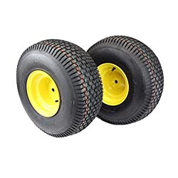 (Set of 2) 20x8.00-8 Tires & Wheels 4 Ply for
