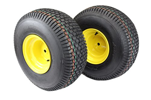 (Set of 2) 20x8.00-8 Tires & Wheels 4 Ply for Lawn & Garden Mower Turf ()