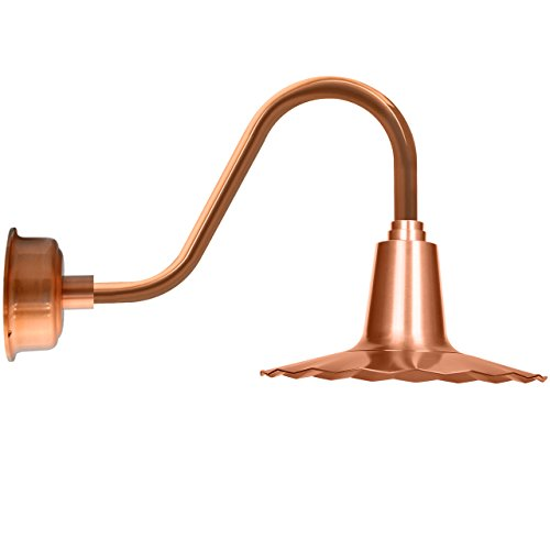 "Cocoweb 16"" Iris LED Interior And Exterior Barn Light in Solid Copper with Rustic Arm - BIRW16SCO-15SCO"