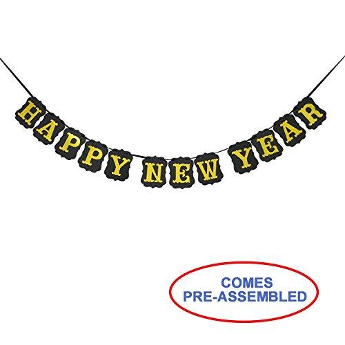Vintage Black and Gold HAPPY NEW YEAR Banner Bunting Garland - Happy New Year Decorations - Happy New Years Eve Party Photo props Backdrop