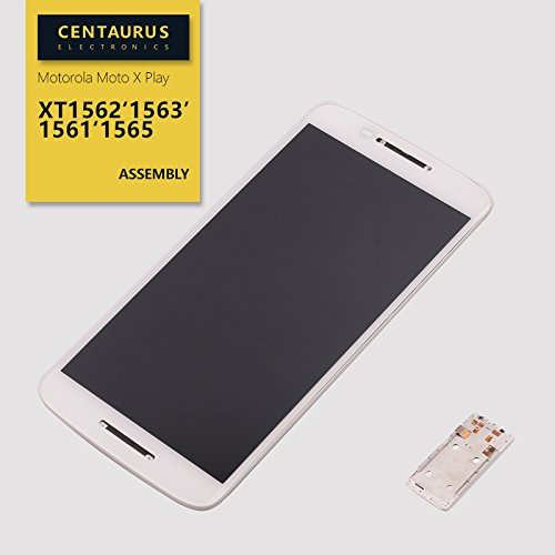 """Assembly for Motorola Droid Maxx 2 XT1565/Moto X Play XT1561 XT1562 XT1563 XT1564 5.5"""" Touch Screen Digitizer with Frame with LCD Display Replacement Parts (White) -  CE CENTAURUS ELECTRONICS, CE120-XT1561-ASSFRAME-WH-1"""
