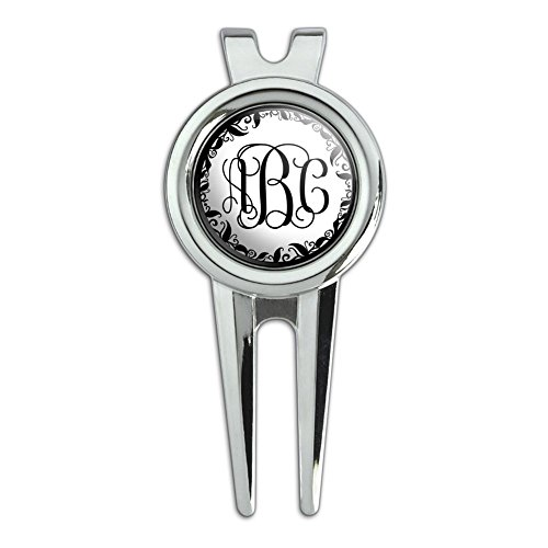 Graphics and More Personalized Custom Golf Divot Repair Tool and Ball Marker – Monogram Fancy Font Vine Outline