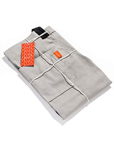 Caldo Cotton Kitchen Apron - Mens and Womens Professional Chef Bib Apron - Adjustable Straps with Pockets and Towel Loop (Grey)
