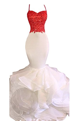 Tbgirl Sexy Gaine Équipée Appliqued Robe De Sirène De Bal Du Soir Ébouriffé Rouge / Blanc