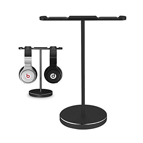 ElementDigital Headpone Stand Dual Headset Mounts Holder Metal Earphone Stand Holder Hanger with Flexible Headrest ABS for Gaming Headset Desk Home Office Classroom Exhibition (Black)