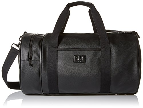 Traditional Barrel Bag (Fred Perry Men's Saffiano Barrel Bag, Black)