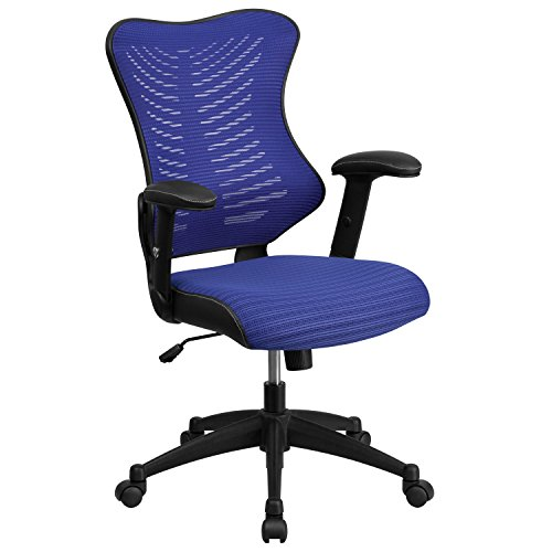 Flash Furniture High Back Designer Blue Mesh Executive Swivel Chair with Adjustable Arms