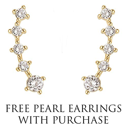 PAVOI 14K Yellow Gold Plated Sterling Silver Post Climber Arrow Ear Crawler Pearl Earrings Set