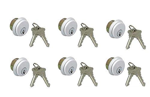 Pacific Doorware Adams Rite Style Keyed Alike Cylinders, Set of 6 - for Storefront Door Mortise Lock, in Aluminum by Pacific Doorware