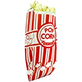 Popcorn Bags. Coated for Leak/Tear Resistance. Single Serving 1oz Paper Sleeves in Nostalgic Red/White Design. Great Movie Theme Party Supplies or for Old Fashioned Carnivals & Fundraisers! (100)