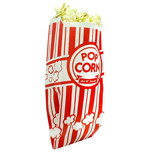 Popcorn Bags Coated for Leak/Tear Resistance. Single Serving 1oz Paper Sleeves in Nostalgic Red/White Design. Great Movie Theme Party Supplies or for Old Fashioned Carnivals & Fundraisers! (200) -