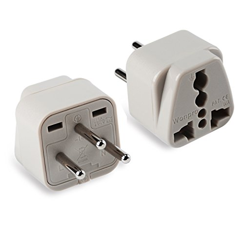 Wonpro Grounded Travel Plug Adapter Type H for Israel - CE Certified - 2 Pack by Wonpro