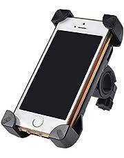 حامل الهاتف مضاد للانزلاق عالمي يتمتع بخاصية الدوران 360 درجة بلون اسود يٌستخدم للدراجة بمقبض يدوي ومشبك تثبيت للموبايل الذكي