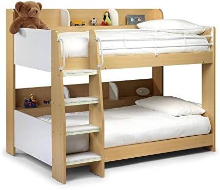 Literas para niños, Happy Beds Domino, camas modernas de madera y metal, con espacio de almacenaje, madera, Maple & White, 3FT - 2x Memory Foam Mattress: Amazon.es: Hogar
