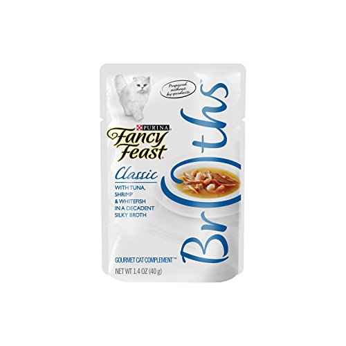 Fancy Feast Broths for Cats, Classic, With Tuna Shrimp and Whitefish - (16) 1.4-Ounce Pouches