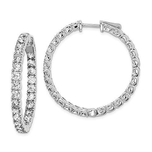 (925 Sterling Silver Cubic Zirconia Cz In Out Hinged Hoop Earrings Ear Hoops Set Fine Jewelry Gifts For Women For Her)