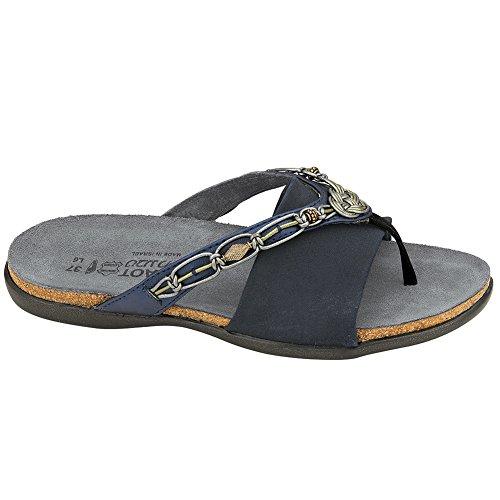 NAOT Jennifer Flat Elegant Women Sandals, Polar Sea Lthr/Navy Stretch,Size - 40