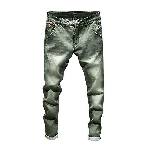 Casual Jiameng Pantaloni Dell'annata Verde Del Uomo Hip Della Denim Lavata Cotone Dei Casuale Di Jeans Da Lavoro hop rwrCBxq