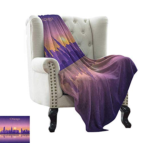 (LsWOW Patterned Blanket Chicago Skyline,Sunset in Illinois American Horizon Behind High City Silhouettes, Purple Apricot Pink Indoor/Outdoor, Comfortable for All Seasons)