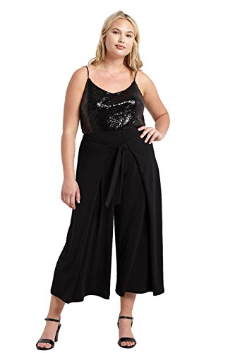 Poshsquare Women's Front Tie Wide Leg Flare Palazzo High Waist Textured Pants USA Black 2XL Textured Flare Pants