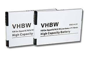 2x Baterías Li-Ion 700mAh compatible con Siemens Gigaset SL400, SL400H, SL610H Pro, SL780, SL785, SL788, X656.. Sustituye V30145-K1310K-X444 etc