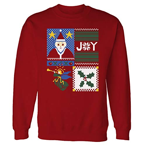 Men's Funny Truly Ugly Christmas Sweater Print Holiday Graphic Long Sleeve T-Shirt Red -