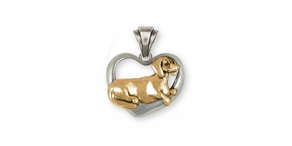 Dachshund Jewelry Silver And Gold Dachshund Pendant Handmade Dog Jewelry DA27-TNP