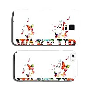 Colorful vector WAKE UP design with butterflies cell phone cover case Samsung S5