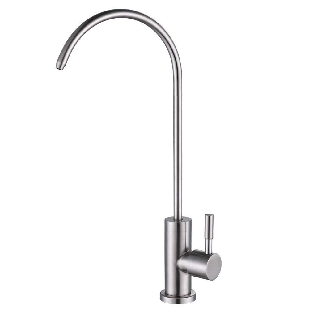 ESOW Kitchen Water Filter Faucet, 100% Lead-Free Drinking Water Faucet Fits most RO Units or Water Filtration System, Stainless Steel Body Brushed Nickel, 1/4-Inch Tube, Non-Air Gap
