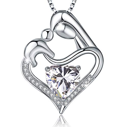Mother Child Heart Necklace - EURYNOME Mother's Birthday Gifts 925 Sterling Silver Mother and Child Love Heart Pendant Necklace, Jewelry Gifts for Mom Women Girls