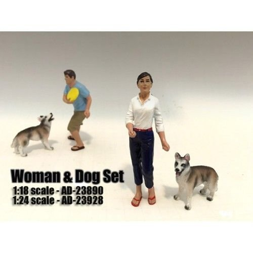 Woman and Dog 2 Piece Figure Set For 1:18 Scale Models by American Diorama (Diorama Figure Set)