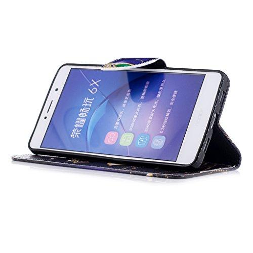 Trumpshop Smartphone Carcasa Funda Protección para Huawei Honor 6X + Lirio + PU Cuero Caja Protector Billetera con Cierre magnético [No compatible con Honor 6A y 6C] Mariposas Doradas