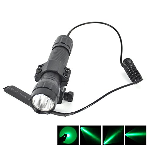 1 Set (1Pc) Massive Fashionable 600 LM Green LEDs Flashlight Waterproof Military Grade Police Lights Shock Resistant SWAT Torch Color Black with Mount and Pressure - Cateye 600