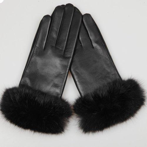 WARMEN Luxury Genuine Soft Nappa Leather Gift Gloves with 100% Rabbit Fur Cuff (M, Brown (Style C (Genuine Rabbit Fur Cuffs)