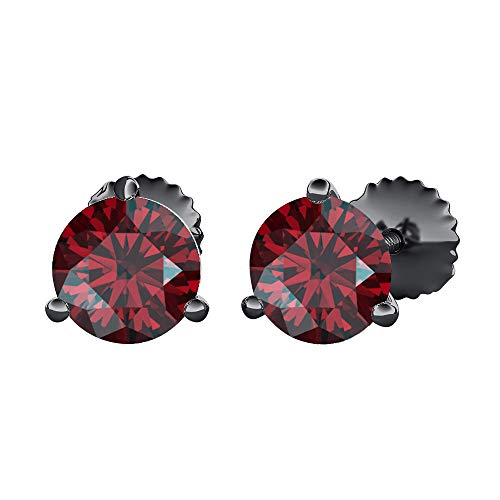 tusakha Round Cut Created Red Garnet (6MM) Solitaire Stud Earrings 14K Black Gold Over .925 Sterling Silver For Women's