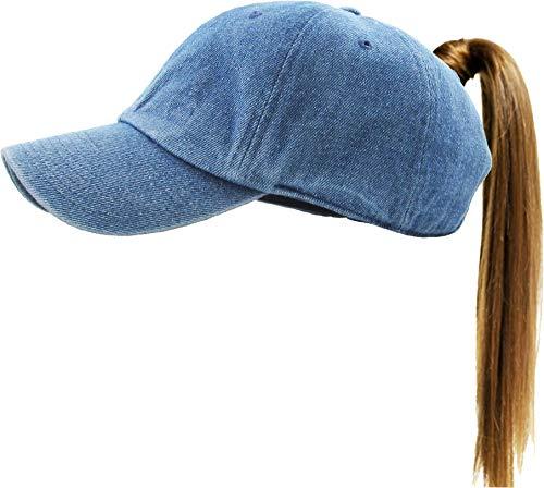 KBETHOS Classic Ponytail Hat Baseball Caps for Women Cotton and Mesh Trucker Better Made Original Tags (Adjustable, 1- Daily Denim)