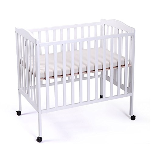 LAZYMOON Portable Pine Wood Baby Crib Toddler Bed Nursery Furniture Safety White ()