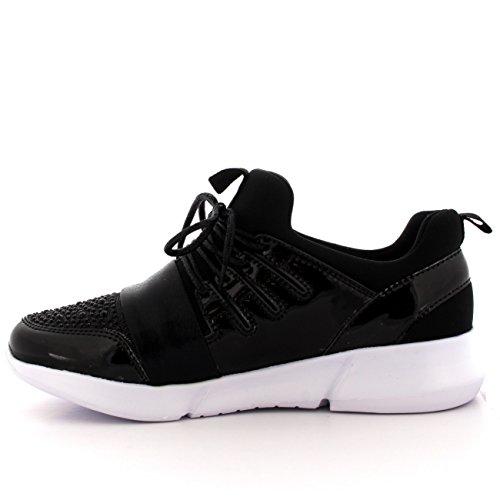Kvinnor Snygga Lätta Mode Blanka Bekväma Glitter Sneakers Svart / Vit