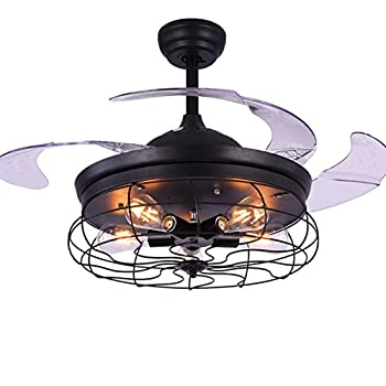 Kalri 42 Retro Industrial Invisible Ceiling Fan Light