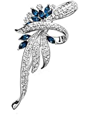 CXBH Hot Sale Elegant Woman Brooches Retro Fashion Crystal Brooches Pins Fashion Jewelry Clothes Accessories Wholesale Sales (Metal color : Silver Blue)