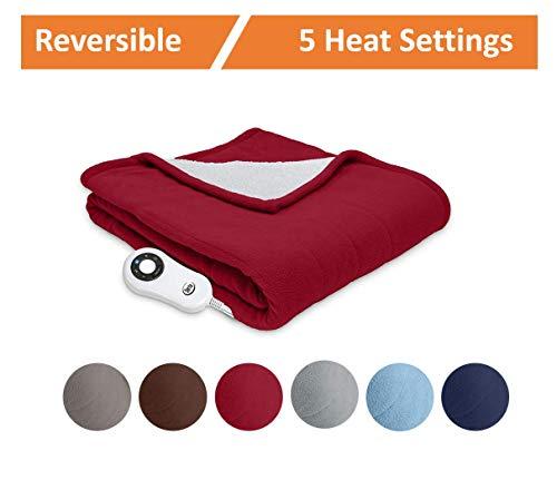Serta | Reversible Sherpa/Fleece Heated Electric Throw Blanket, Premium, (Red Pepper)