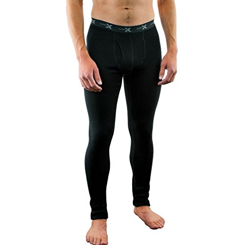 Woolx Mens BackCountry Midweight Merino Wool Base Layer Bottoms, Black, Large