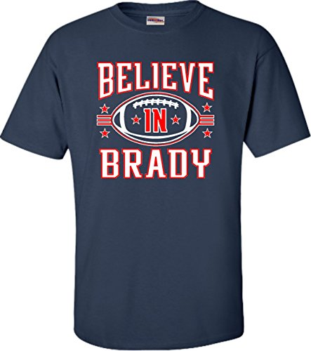 X Large Navy Blue Adult Believe In Brady Football T Shirt
