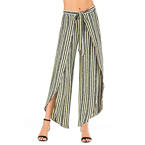 GUOLEZEEV Striped Work Pants with Self Tie Belted Loose Wide Slit Leg Trousers for Women S