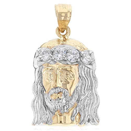 Ioka - 14K Two Tone Gold Religious Jesus Christ Head CZ Charm Pendant For Necklace or ()