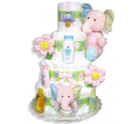 Baby Elephant Diaper Cake by diapercakewalk