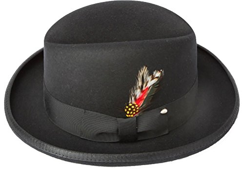 Droog Costume Halloween (New Mens 100% Wool Black Godfather Style Homburg Fedora Hat)
