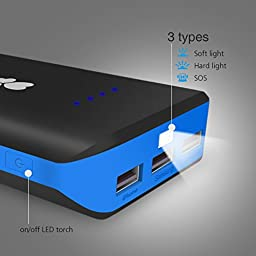 EC Technology 22400mAh USB Portable Charger with 3 USB Outputs - Black&Blue