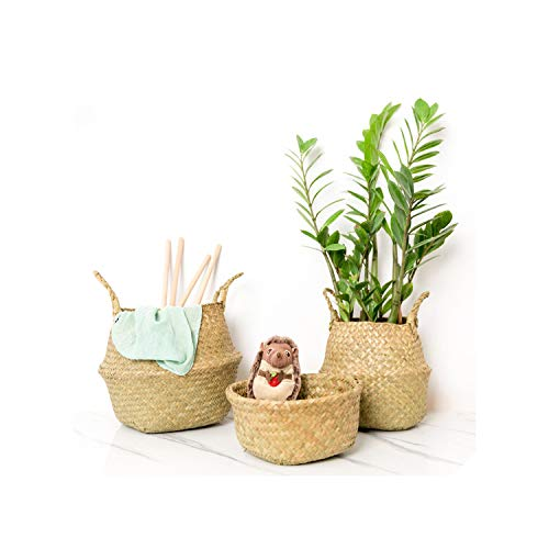 2Pcs Foldable Rattan Belly Storage Basket Toy Laundry Basket Dirty Clothes Storage Container Home Plants Flower Decor,2 x L (Singapore Baskets Cheap Rattan)