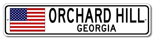 The Lizton Sign Shop Orchard Hill, Georgia Aluminum America Flag Sign, USA Custom Flag Sign - - Hills Orchard Corner Computer
